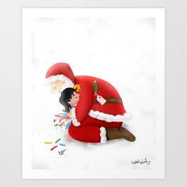 A warm hug from Santa Art Print