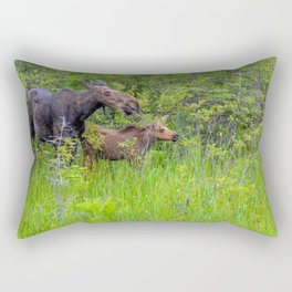 Moose and calf by Teresa Thompson Rectangular Pillow