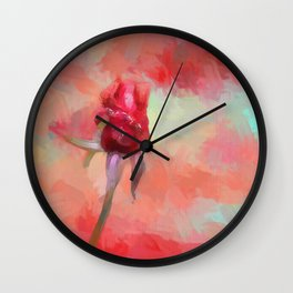 Red Rose In Spring Wall Clock