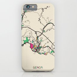 Colorful City Maps: Genoa, Italy iPhone Case