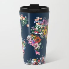 world map floral Metal Travel Mug