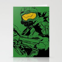 master chief Stationery Cards featuring Halo Master Chief by Ashley Rhodes
