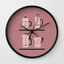 Volturno & French Press Coffee #4 dusty & vintage pink Wall Clock