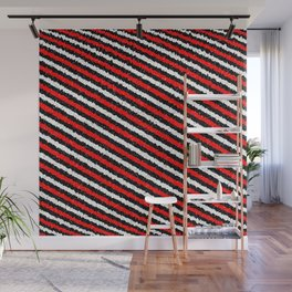 Jiggly Speckled Red Black and White Diagonal Pattern Wall Mural