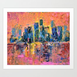 Pink Sky - abstract painting New York city skyline at sunset impressionism acrylic Art Print