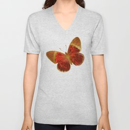 Gold Glitter Scarlet Red Butterfly Design Unisex V-Neck