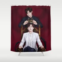 kpop Shower Curtains featuring King Sunggyu by Nikittysan