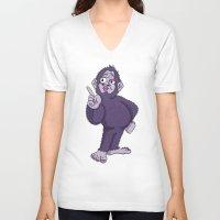 sassy V-neck T-shirts featuring Sassy Squatch by Chris Piascik