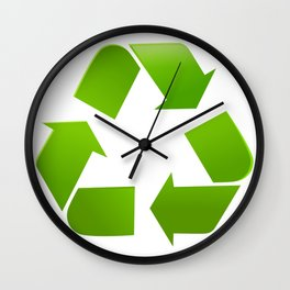 Green Recycle symbol on white background Wall Clock