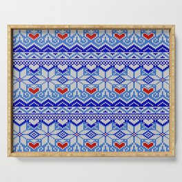 Scandinavian Christmas with nordic stars and romantic hearts Serving Tray
