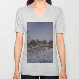 Boughton Church In Winter Unisex V-Neck