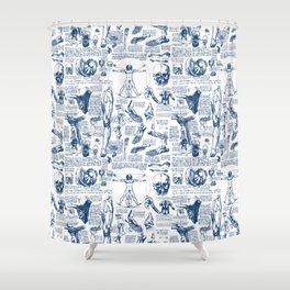 Da Vinci's Anatomy Sketchbook // Dark Blue Shower Curtain