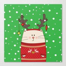 Cat Reindeer Canvas Print