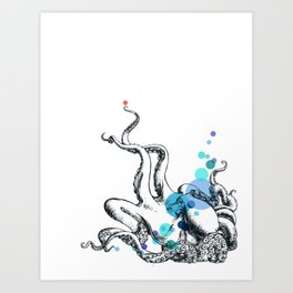 Blue Spot Octopus Art Print