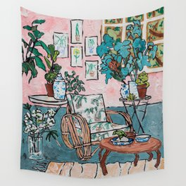 Rattan Chair in Jungle Room Wall Tapestry