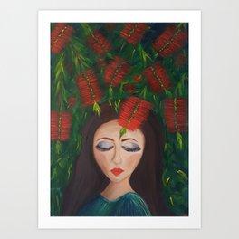 Dreaming under bottle brushes Art Print