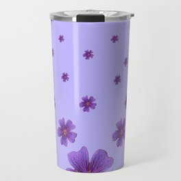 RAINING PURPLE FLOWERS LILAC COLLAGE ART Travel Mug