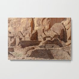 Chacoan ruins in desert canyon at Chaco Canyon National Historical Park in New Mexico Metal Print