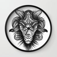 goat Wall Clocks featuring Goat by Alexander Kukinov