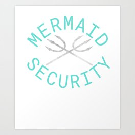 Mermaid Security Merman Birthday Gift Swimming Art Print