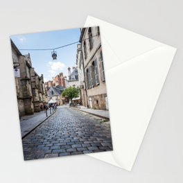Cobblestoned street in historic centre of Rennes, France Stationery Cards