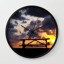 Sunset with Picnic Table Wall Clock