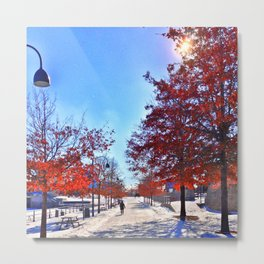 Old Montreal in Winter Metal Print