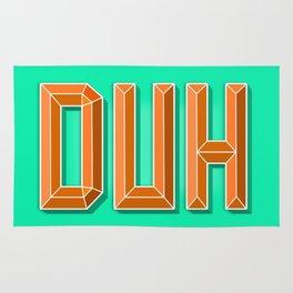 """""""DUH"""" 3D Letters (Green, Orange) Rug"""