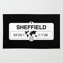Sheffield England GPS Coordinates Map Artwork with Compass Rug
