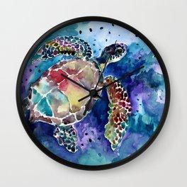 Sea Turtle underwater, beach deep blue barine blue turtle beach style design Wall Clock