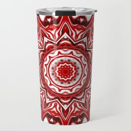 Red and White Kaleidoscope Travel Mug