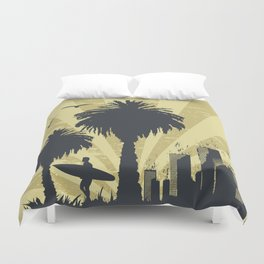 Sunny beach with palm surfer in Hawaii Duvet Cover