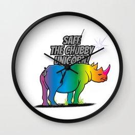 Save the Chubby Unicorn - Rainbow Rhino V6S2 Wall Clock