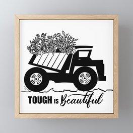 Tough is Beautiful Floral Truck Framed Mini Art Print