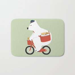 Polar bear postal express Bath Mat