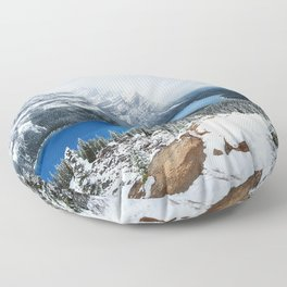 Canada Peyto Lake winter forest mountains Floor Pillow