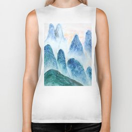 dawn in the mountain forest Biker Tank