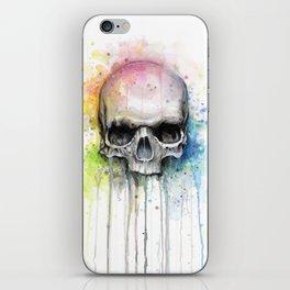 Skull Rainbow Watercolor Painting Skulls iPhone Skin