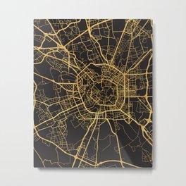 MILAN ITALY GOLD ON BLACK CITY MAP Metal Print