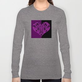 Gothic Victorian Black and Purple Heart Long Sleeve T-shirt