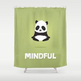 Mindful panda levitating Shower Curtain
