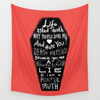 religion Wall Tapestries featuring Life asked death... by Picomodi
