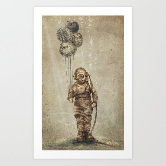 Balloon Fish (Sepia) Art Print