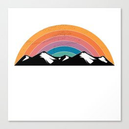 Rainbow Mountains Distressed Seventies Design Canvas Print