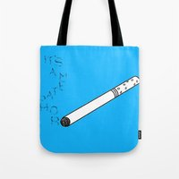 tfios Tote Bags featuring TFIOS It's a Metaphor Smoke by All Things M