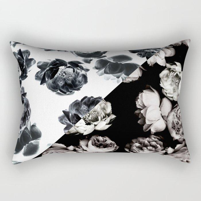 Black & White Floral Pattern Rectangular Pillow