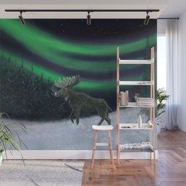Northern Lights Moose Hunt Wall Mural