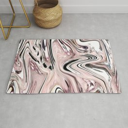 abstract girly pastel color marbled grey blush pink swirls Rug