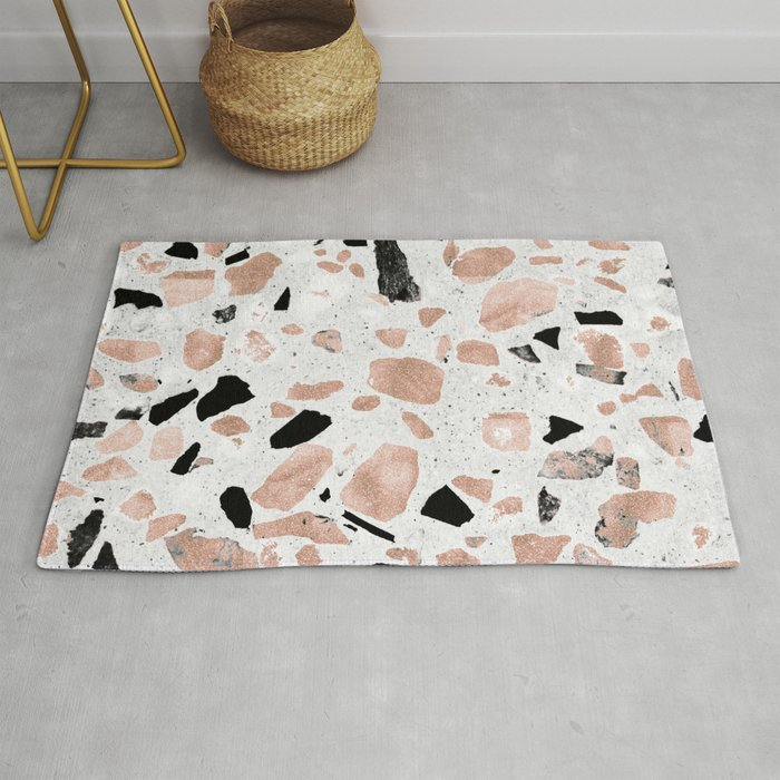 Classy Rose Gold Vintage Marble Abstract Terrazzo Design Rug By Inovarts