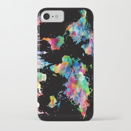 world map city skyline 3 iPhone Case
